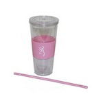 Browning Pink/Wht 20oz Insulated Cup,Strw