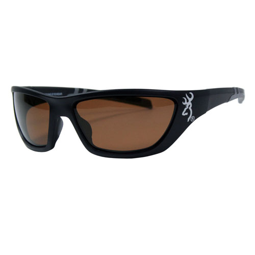 AES Outdoors AES Outdoors Browning Alpha Max Sunglasses Matte Black Frame, Amber Lens BRN-ALP-004