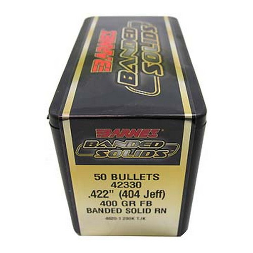 "Barnes Bullets Banded Solid Bullets 404 Jeff .422"" 400 Grain Round Nose (Per 50) 42330"
