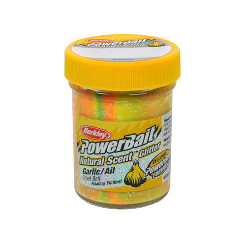Berkley PowerBait Natural Scent Glitter Trout Bait Garlic, Rainbow