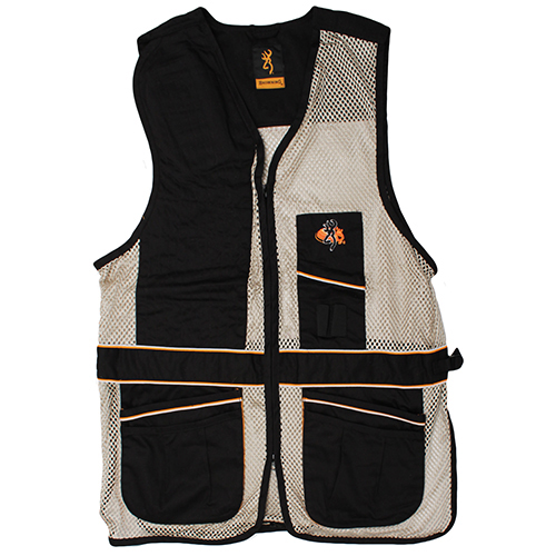 Browning Browning Deluxe Right Hand Vest, Black/Tan Medium 3050179902