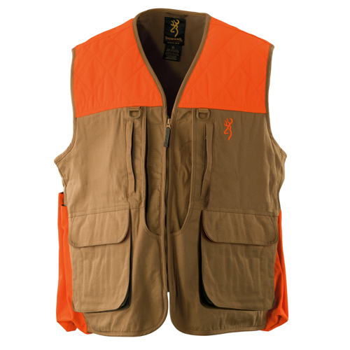 Browning Upland Vest w/Blaze Trim, Field Tan Large