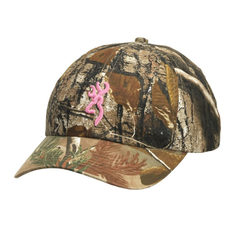Browning Browning Cap, 3D Pink Buckmark, For Her, Realtree AP Camo 308179212