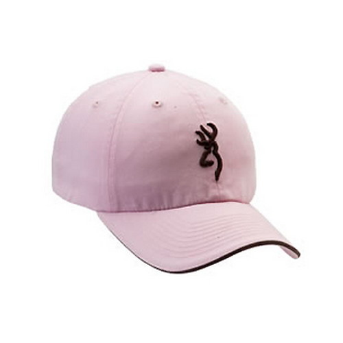 Browning Twill Cap w/3-D Buckmark & Pipe Brim Pink/ Brown Pipe 308304211