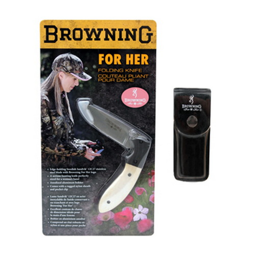 Browning Browning For Her Knife Folder, White Bone Handle 322895