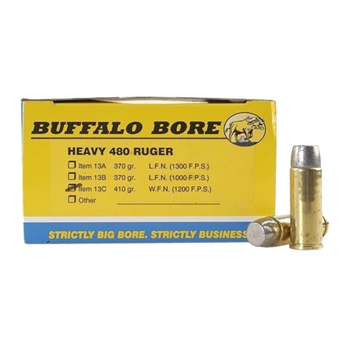 Buffalo Bore Ammunition Buffalo Bore Ammunition Heavy 480 Ruger 410 Gr Hard Cast WFN GC (Per 50) 13C/50