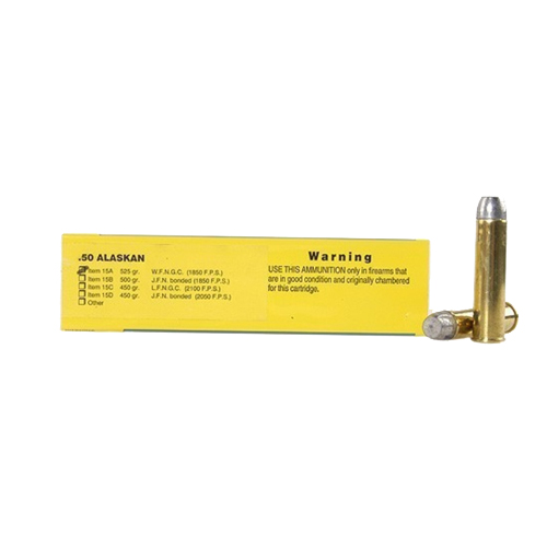 Buffalo Bore Ammunition Buffalo Bore Ammunition 50 Alaskan 525 Gr Hard Cast WFN GC (Per 20) 15A/20