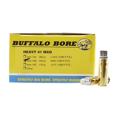 Buffalo Bore Ammunition Buffalo Bore Ammunition Heavy 41 Magnum 230 Gr Hard Cast Keith GC (Per 50) 16B/50