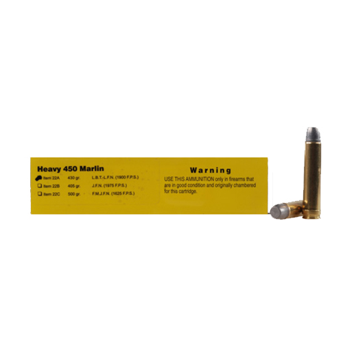 Buffalo Bore Ammunition Buffalo Bore Ammunition Heavy 450 Marlin 430 Gr Hard Cast LBT-LFN (Per 20) 22A/20