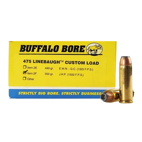 Buffalo Bore Ammunition Buffalo Bore Ammunition 475 Linebaugh TM 350 Gr JHP (Per 20) 2F/50