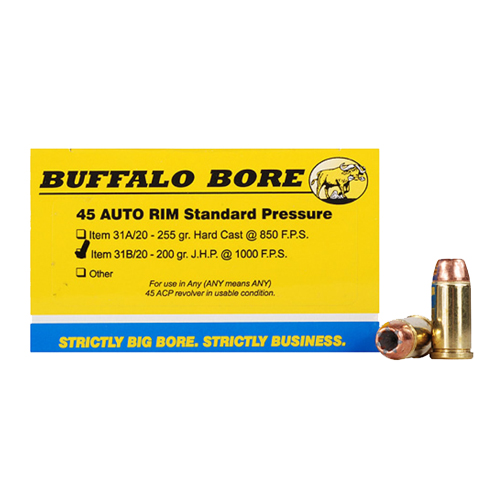 Buffalo Bore Ammunition Buffalo Bore Ammunition 45 AutoRim 200 Gr JHP (Per 20) 31B/20