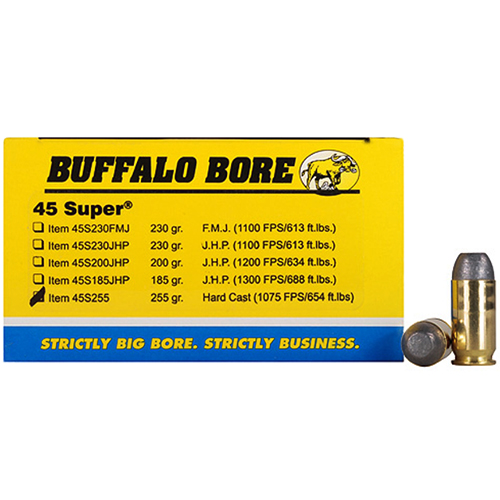 Buffalo Bore Ammunition Buffalo Bore Ammunition 45 ACP +P 255 Gr Hard Cast FN (Per 50) 45-255/50