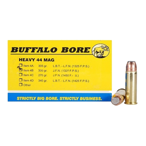 Buffalo Bore Ammunition Heavy 44 Magnum  JFN 300 Gr (Per 50)