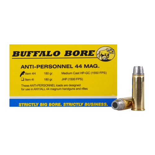 Buffalo Bore Ammunition Buffalo Bore Ammunition Anti-Personnel 44 Magnum 180 Gr Medium Cast HP-GC (Per 20) 4H/20