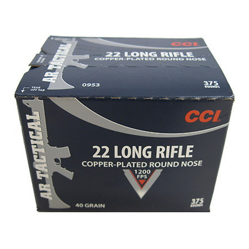 CCI 22 Long Rifle by CCI 40Gr, Copper Plated Round Nose, AR Tactical, (Per 375)