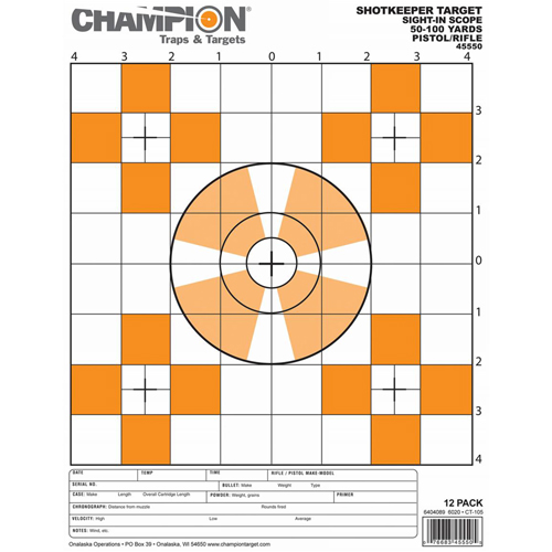 Champion Traps and Targets Champion Traps and Targets Shotkeeper Sightin Scope Target (Per 12) Small 45550