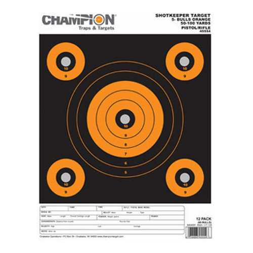 Champion Traps and Targets Champion Traps and Targets Shotkeeper 5 Bulls (Per 12) Orange, Small 45554