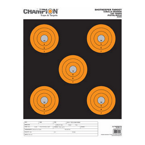Champion Traps and Targets Champion Traps and Targets Shotkeeper 5 Bulls (Per 12) Orange, Large 45555