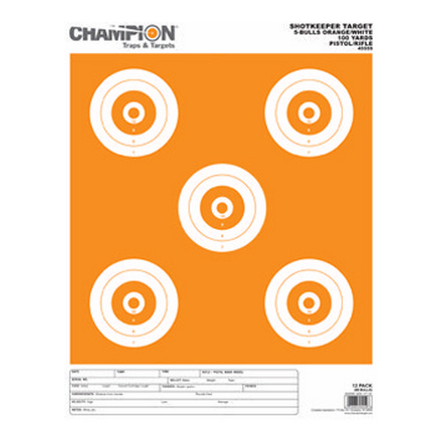 Champion Traps and Targets Champion Traps and Targets Shotkeeper 5 Bulls (Per 12) Orange/White, Large 45559