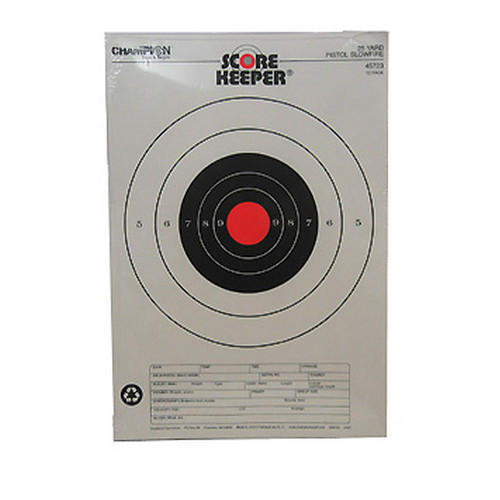 Champion Traps and Targets Champion Traps and Targets Orange Bullseye Targets 25yd Pistol Slow fire (Per 12) 45723