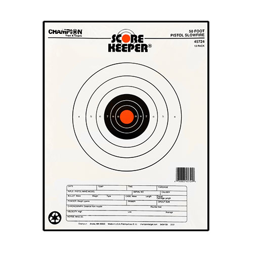 Champion Traps and Targets Champion Traps and Targets Orange Bullseye Targets 50ft Pistol Slow fire (Per 12) 45724