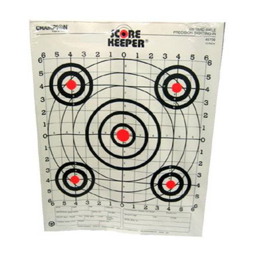 Champion Traps and Targets Champion Traps and Targets Orange Bullseye Targets 100yd Rifle Sight-in (Per 12) 45726