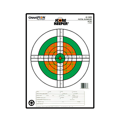 Champion Traps and Targets Champion Traps and Targets Score Keeper Fluorescent Targets 25yd Pistol Slow fire (Per 12) 45760
