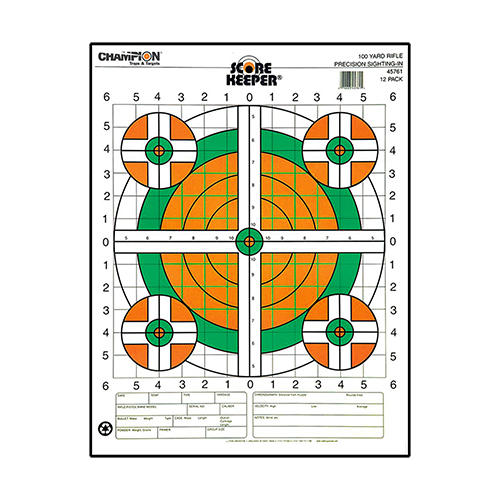 Champion Traps and Targets Champion Traps and Targets Score Keeper Fluorescent Targets 100yd Rifle Sight-in (Per 12) 45761