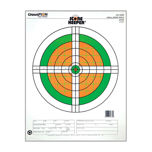 Champion Traps and Targets Champion Traps and Targets Score Keeper Fluorescent Targets 100yd Small Bore Rifle (Per 12) 45762