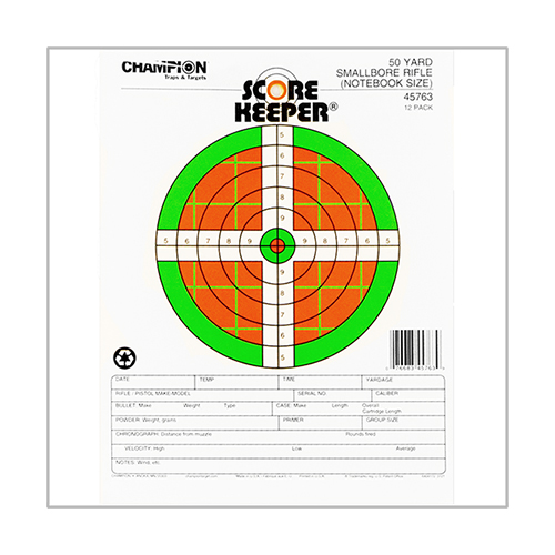 Champion Traps and Targets Champion Traps and Targets Score Keeper Fluorescent Targets 50yd Notebook Target (Per 12) 45763