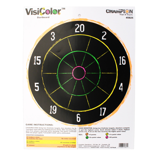 Champion Traps and Targets Visicolor Targets Dartboard (10 Pack)