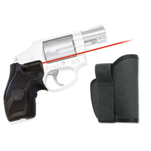 Crimson Trace Crimson Trace Smith and Wesson J Frame Round Butt Overmold Front Activation, Boot Grip, w/Holster LG-405H