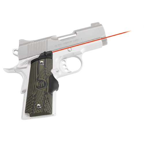 Crimson Trace Crimson Trace 1911 Officer's/Compact/Defender G-10 Green/Black LaserGrip Front Activation LG-911