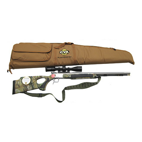 CVA Accura V2 .50 Caliber Muzzleloader Thumbhole Stock Stainless Steel/Realtree APG HD Camo, Includes 3-10x44mm Scope