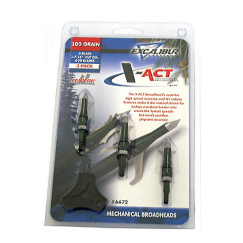 Excalibur X-ACT Mechanical Broadheads,  100gr, SS, 3 Blade Set (Per 3)