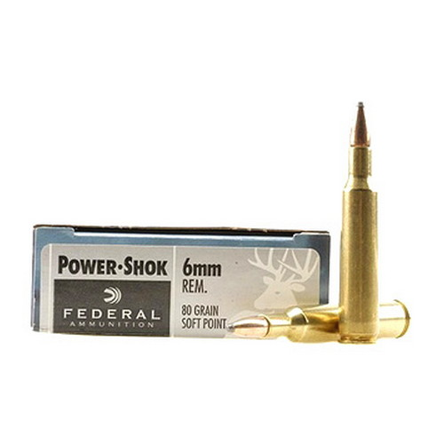 Federal Cartridge Federal Cartridge 6mm Remington 6mm Remington, 80gr, Hot-Cor Soft Point, (Per 20) 6AS