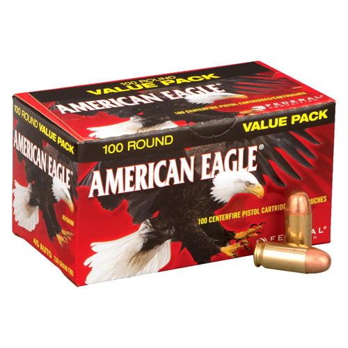Federal Cartridge Federal American Eagle 45 ACP 230 Grain Full Metal Jacket (Per 100) AE45A100