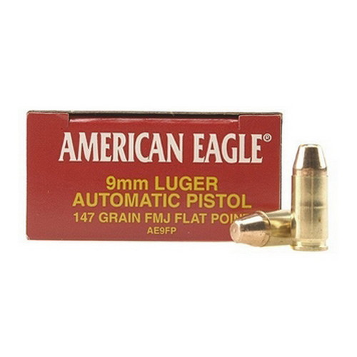 Federal Cartridge Federal Cartridge 9mm Luger 9mm Luger, 147gr, Full Metal Jacket Flat Point, (Per 50) AE9FP