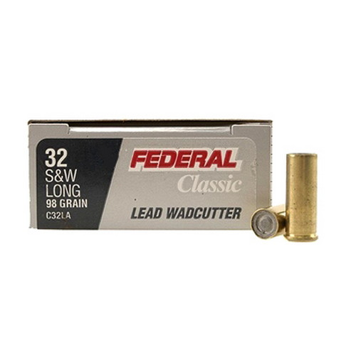 Federal Cartridge Federal Cartridge 32 Smith & Wesson Long 32 S&W Long, 98gr, Lead Wadcutter, (Per 20) C32LA