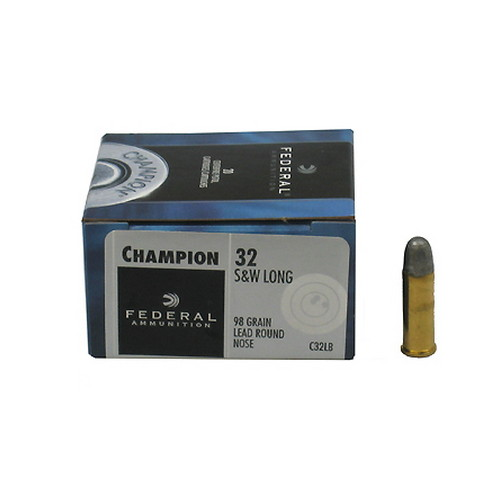 Federal Cartridge Federal Cartridge 32 Smith & Wesson Long 32 S&W Long, 98gr, Lead Round Nose, (Per 20) C32LB