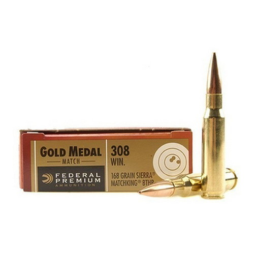 Federal Cartridge 308 Winchester 308 Win, 168gr, Sierra MatchKing Boat Tail Hollow Point, (Per 20) GM308M