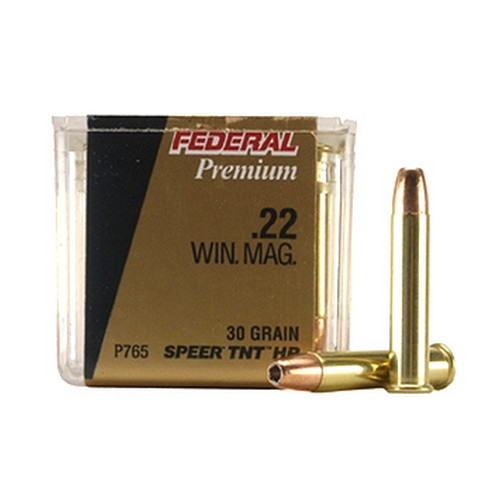 Federal Cartridge 22 Winchester Magnum 22 Win Mag, 30 Grain, Jacketed Hollow Point, (Per 50)