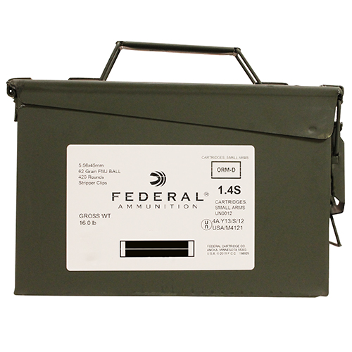 Federal Cartridge Federal Cartridge 5.56 NATO 62 Gr. SC FMJ Ammo Can with Stripper Clips Per 420 XM855LC1AC1
