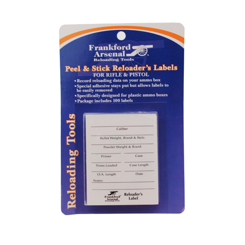 Frankford Arsenal Frankford Arsenal Pistol and Rifle Reloader's Labels 100 Pack 202364