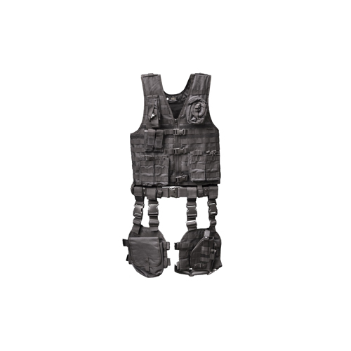Global Military Gear Global Military Gear Tactical Vest 10 Piece Combo, Black GM-TVC1