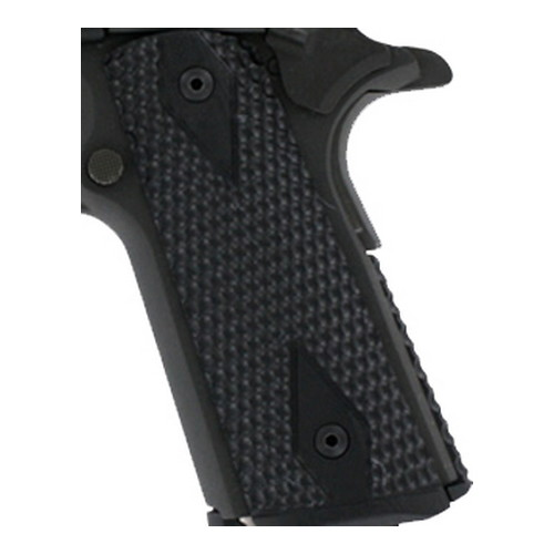 Hogue Colt, 1911 Government Magrip Kit G-10 Piranha Flat Mainspring, G-Mascus Solid Black