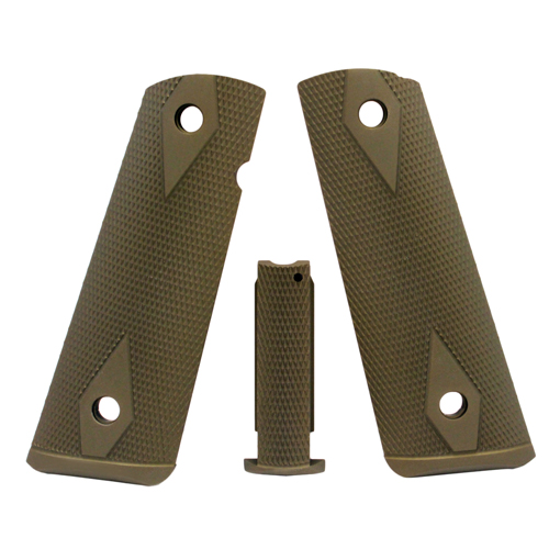 Hogue Colt, 1911 Government Magrip Kit Aluminum Checkered, Flat Mainspring Matte Green Anodized