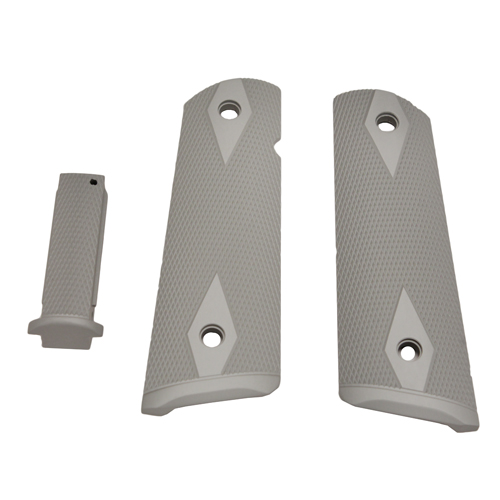 Hogue Colt, 1911 Government Magrip Kit Aluminum Checkered, Flat Mainspring Matte Clear Anodized