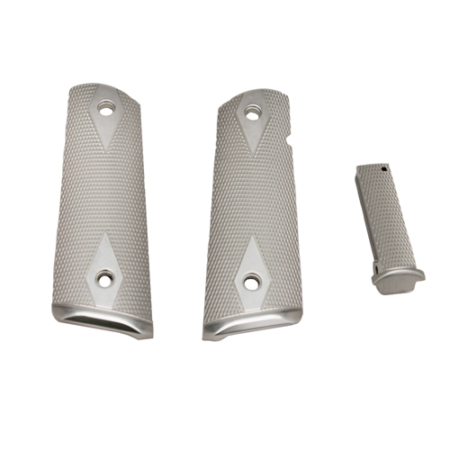 Hogue Hogue Colt, 1911 Government Magrip Kit Aluminum Checkered, Flat Mainspring Brushed Gloss Clear Anodized 01255