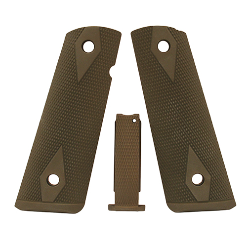 Hogue Hogue Colt, 1911 Government Magrip Kit Aluminum Checkered Arched Matte Green Anodized 01271